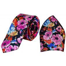 Pink Blossom Multicolor Print Luxurious Premium Mens Tie Pocket Square Set
