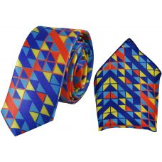 Abstract Geometric Print NYPD Blue Luxurious Premium Mens Tie Pocket Square Set