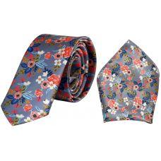 Delightful Floral Print Luxurious Premium Mens Tie Pocket Square Set