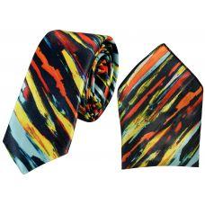 Brushed Pattern Abstarct Print Luxurious Premium Mens Tie Pocket Square Set