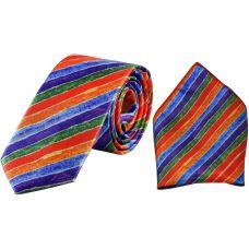 Multicolor Stripes Print Luxurious Premium Mens Tie Pocket Square Set