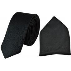 Night Black Jacquard Microfiber Paisely Slim Classic Mens Tie Pocket Square Set