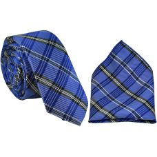 Tartan Stripes Ocean Blue Luxurious Premium Mens Tie Pocket Square Set