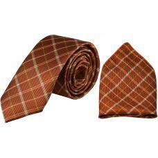 Tartan Stripes Metallic Marmalade Luxurious Premium Mens Tie Pocket Square Set