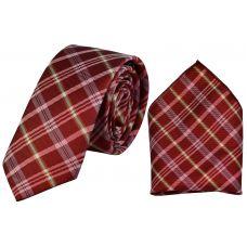 Tartan Stripes Wine Red Luxurious Premium Mens Tie Pocket Square Set