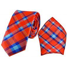 Tartan Stripes Red-Blue Luxurious Premium Mens Tie Pocket Square Set
