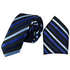 Tri-Tone Blue Stripes Jet Black  Luxurious Premium Mens Tie Pocket Square Set