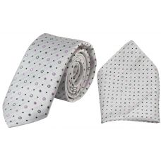 Subtle Spots Pearl White Full Microfiber Luxurious Premium Mens Tie Pocket Square Set