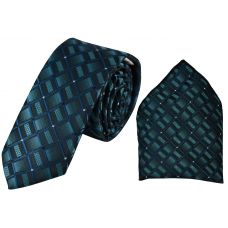 Two-Tone Moss Green Full Microfiber Luxurious Premium Mens Tie Pocket Square Set
