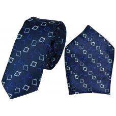 Stylish Squares Dark Navy Blue Full Microfiber Luxurious Premium Mens Tie Pocket Square Set