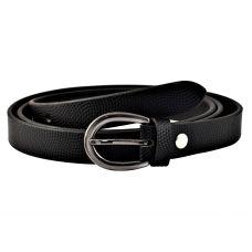 Textured Jet Black Women's Genuine Leather Belt