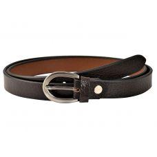 Grained Pattern Dark Brown Women's Genuine Leather Belt