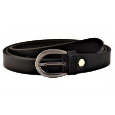 Grained Pattern Jet Black  Women's Genuine Leather Belt
