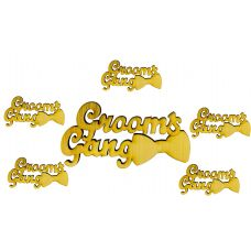 Pack of 6 High Quality Groom's Gang 3D Wooden Brooch Lapel Pin Unisex