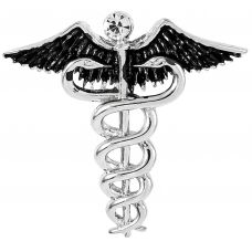 Rhodium-Silver Plated Caduceus Doctor's Brooch Lapel Pin