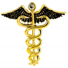 Gold Plated Caduceus Doctor's Brooch Lapel Pin