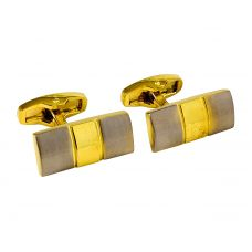 Center Gold Plated Two-Tone Alloy Bar Cufflinks for Men