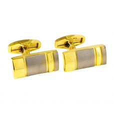 Double Sided Gold Plated Two-Tone Alloy Bar Cufflinks for Men