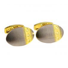 Star Emblem Oval Silver Gold Plated Two-Tone Alloy Cufflinks for Men