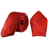 Scarlet Red Jacquard Microfiber Paisely Slim Classic Mens Tie Pocket Square Set