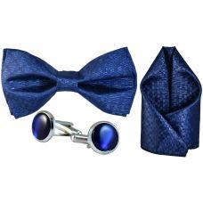 Jacquard Microfiber Persian Blue Bow Tie,Pocket Square,Cufflinks Set for Men