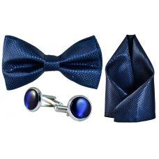 Jacquard Microfiber Oxford Blue Bow Tie,Pocket Square,Cufflinks Set for Men