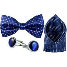 Full Microfiber Polka Dots Indigo Blue Bow Tie,Pocket Square,Cufflinks Set for Men