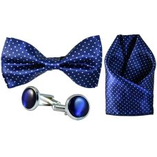 Full Microfiber Tiny Polka Dots Indigo Blue Bow Tie,Pocket Square,Cufflinks Set for Men