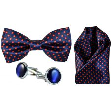 Full Microfiber Red Polka Dots Navy Blue Bow Tie,Pocket Square,Cufflinks Set for Men