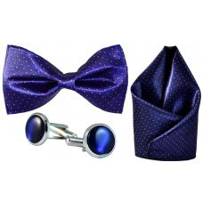 Full Microfiber Tiny Red Polka Dots Navy Blue Bow Tie,Pocket Square,Cufflinks Set for Men