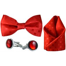 Jacquard Microfiber Scarlet Red Bow Tie,Pocket Square,Cufflinks Set for Men