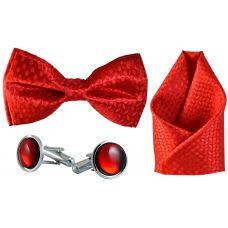 Jacquard Microfiber Fire Red Bow Tie,Pocket Square,Cufflinks Set for Men