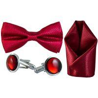 Jacquard Microfiber Rosewood Bow Tie,Pocket Square,Cufflinks Set for Men