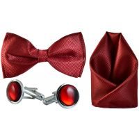 Jacquard Microfiber Maroon Bow Tie,Pocket Square,Cufflinks Set for Men