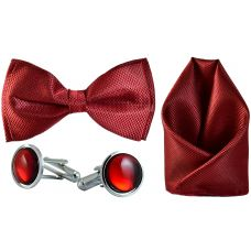 Jacquard Microfiber Maroon Bow Tie,Pocket Square,Cufflinks Set for Men