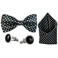 Jacquard Microfiber Polka Dots Black Bow Tie,Pocket Square,Cufflinks Set for Men