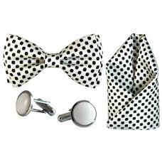 Jacquard Microfiber Polka Dots White Bow Tie,Pocket Square,Cufflinks Set for Men