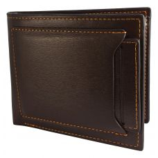 External Card Slot High Quality PU Leather Tough and Durable Brown Wallet for Men