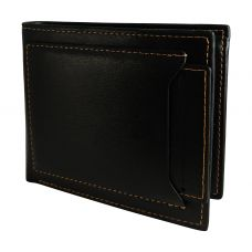 External Card Slot High Quality PU Leather Tough and Durable Black Wallet for Men