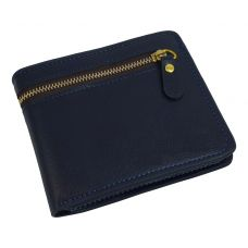 External Zipper Dark Blue High Quality PU Leather Tough and Durable Wallet for Men