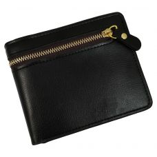 External Zipper Dark Black High Quality PU Leather Tough and Durable Wallet for Men