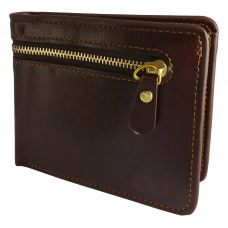 External Zipper Dark Coffee Brown High Quality PU Leather Tough and Durable Wallet for Men