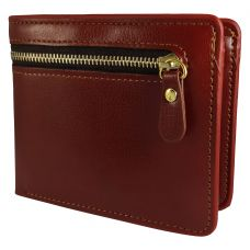 External Zipper Rust Brown High Quality PU Leather Tough and Durable Wallet for Men