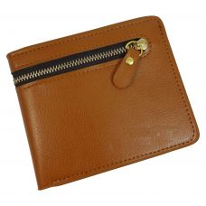 External Zipper Tan Brown High Quality PU Leather Tough and Durable Wallet for Men