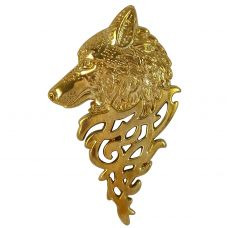 Gold Plated Stark Wolf Impressive Big and Bold Brooch Lapel Pin for Men