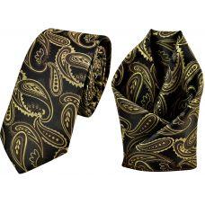Triple Tone Mustard-Earth Brown-Black Jacquard Microfiber Paisley Slim Classic Mens Tie Pocket Square Set