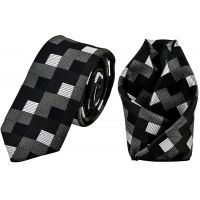 Triple Tone Black-Silver-Grey Jacquard Microfiber Checked Slim Classic Mens Tie Pocket Square Set