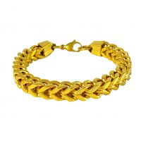 3D Box Cuban Links Gold Foamed  316L Stainless Steel Bracelet for Men