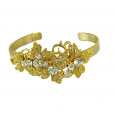 Flowers and Solitaires Heavy EmbellishmentsAdjustable Bracelet for Women