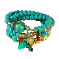 Poise of Turquoise Set of Multi-Layer Beaded Stone Adjustable Bracelet for Women